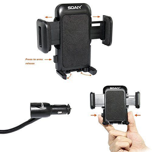 3-in-1 Cigarette Lighter Car Mount With 2USB Port Charger, Compatible With Most Phones