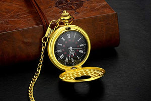 m-Vintage Roman Numerals Quartz Pocket Watch