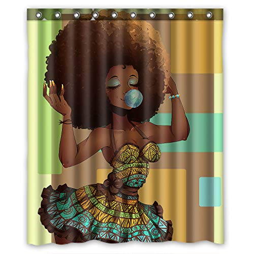 Beautiful Afrikan Girl Waterproof Bathroom Shower Curtain - AVM