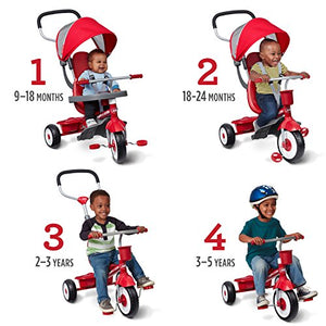 4-in-1 Stroll 'N Trike, Red Toddler Tricycle