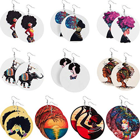 Image of 10 Pairs Round Afrikan Women Earrings - AVM
