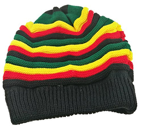 Image of Colored Striped Long Style Jamaican Reggae Hat - AVM