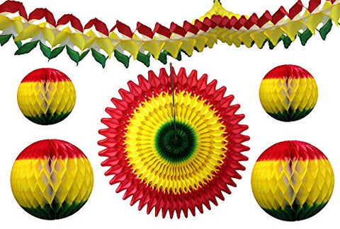 6-Piece Red Yellow Green Rasta Party Decorations - AVM