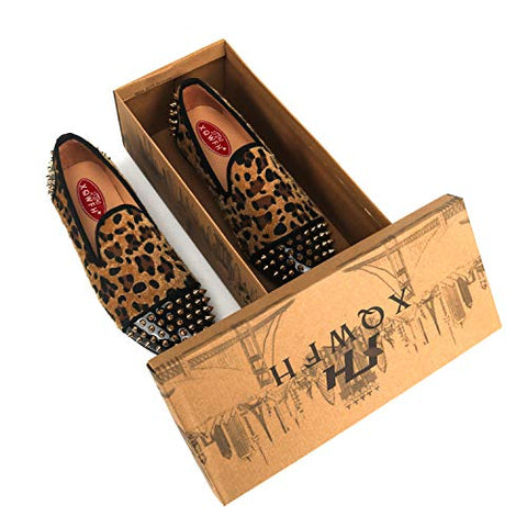 Mens Leopard Loafers Leather Shoes - AVM