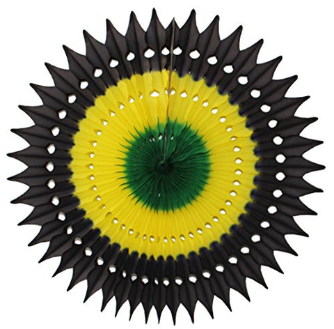 7-Piece Complete Jamaican Honeycomb Party Decoration Set (Black/Yellow/Green) - AVM