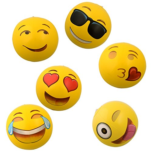 "12"" Emoji Inflatable Beach Balls, 12-Pack - AVM"