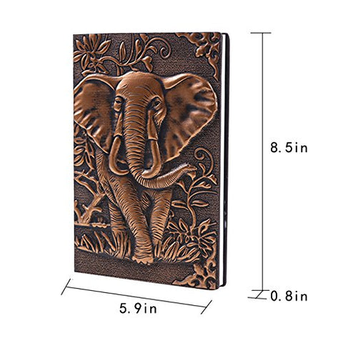 Image of Leather Writing Notebook Afrikan Elephant Journals Daily Weekly Monthly Planner - AVM