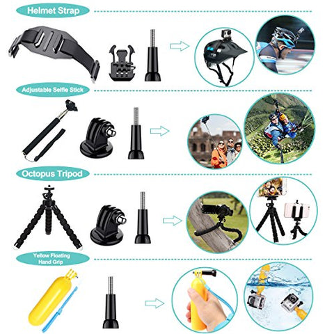 Soft Digits 50 in 1 Action Camera Accessories Kit - AVM