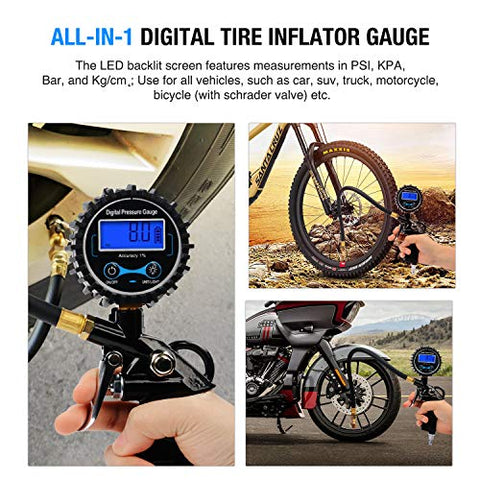 Image of Digital Tire Inflator Pressure Gauge - AVM