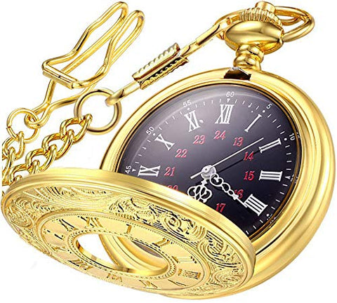 m-Vintage Roman Numerals Quartz Pocket Watch - AVM