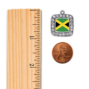 Silver Square Jewelry with Jamaican flag