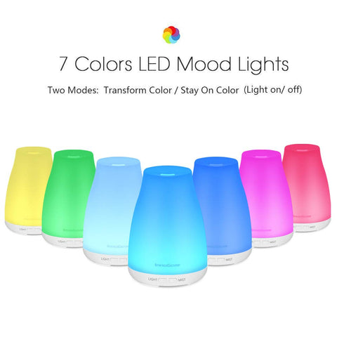 Portable Aromatherapy Essential Oil Diffuser Cool Mist Humidifier with 7 Colors LED Lights A112 - AVM