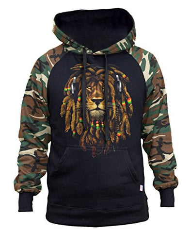 Men's Dreadlock Rasta Lion Hoodie Large Black - AVM