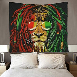 Rasta Lion Tapestry Hippie Wall Art