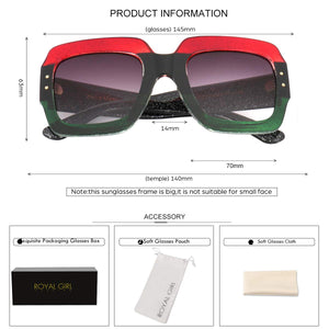 Red-Blue-Green Oversized Square Sunglasses
