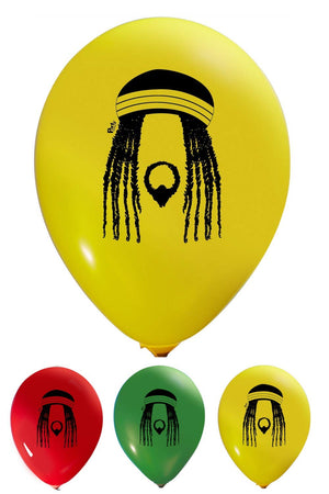 Reggae Balloons - 12 Inch Latex - 2 Sided Print (16 Count) - AVM