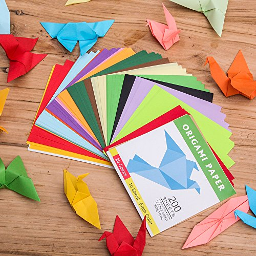 Double Sided Color - 200 Sheets - 20 Colors - 6 Inch Square Easy Fold Paper - AVM