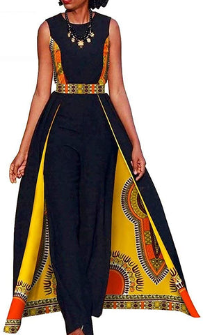 Image of Afrikan Design Summer Elegant Women's Sleeveless Rompers Jumpsuit Long Dashiki Pants - AVM