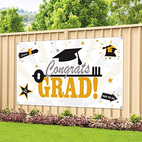 Image of Large Fabric Graduation Party Banner 78''x45'' for Graduation Party Supplies 2019, Photo Prop/Booth Backdrop, Graduation Decorations Indoor/Outdoor