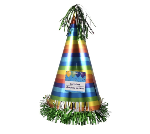 Image of Metallic Cone Party Hats- 6 count - AVM