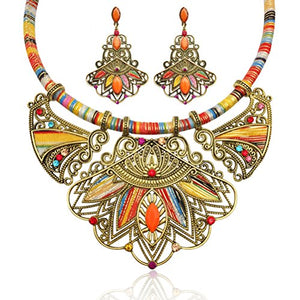 Multicolor Handmade Ethnic Set, Necklace and Earrings - AVM