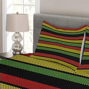 Jamaican Bedspread, Knitted Effect Rastafarian Stripes Abstract Caribbean Culture Elements Tropical, Queen Size