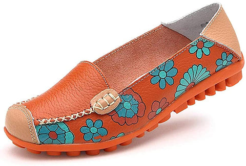 Image of Women's Comfortable Leather Floral Print Flats Walking Shoes for Women - AVM