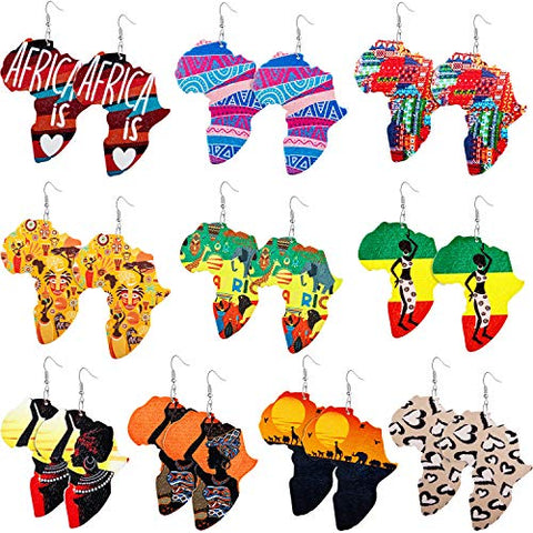 10 Pairs Wooden Earrings Afrikan Map Jewelry - AVM
