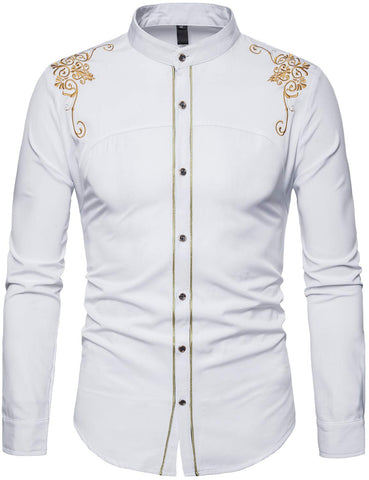 Mens Casual Slim Fit Long Sleeve Button Down Dress Shirts - AVM