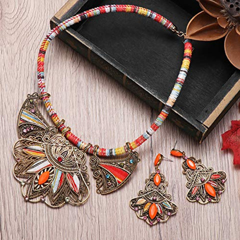 Image of Multicolor Handmade Ethnic Set, Necklace and Earrings - AVM