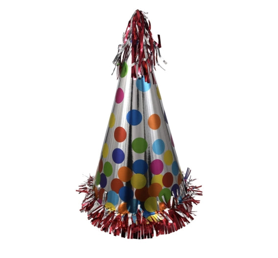 Metallic Cone Party Hats- 6 count - AVM