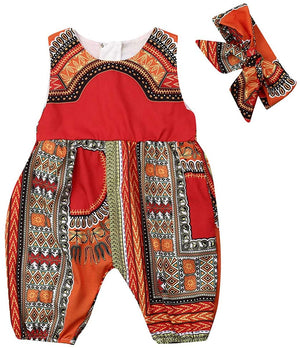 Baby Girls Afrikan Dashiki Print One-Piece Rompers Jumpsuit Headband Toddler Outfit