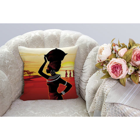 Image of Beautiful Afrikan Women Cotton Linen Square Cushion Cover
