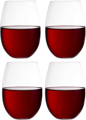 Simple Stemless Glass Wine Glasses- 4 Count