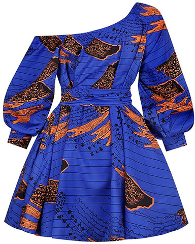 Image of Women's One Shoulder Oblique Neck Short Dresses Afrikan Floral Print Dress - AVM
