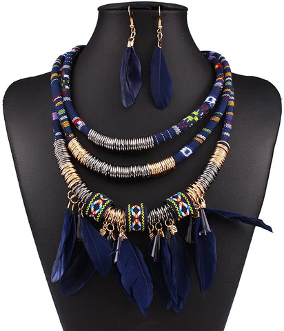 Multi Layers Tribal Bib Necklace, Earring Jewelry Set - AVM
