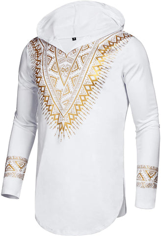 Men's Afrikan Dashiki Shirt Metallic Floral hoodie - AVM