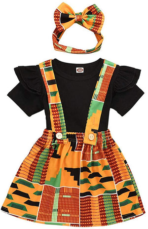 Baby's Dashiki Afrikan Print Jacket and Skirt