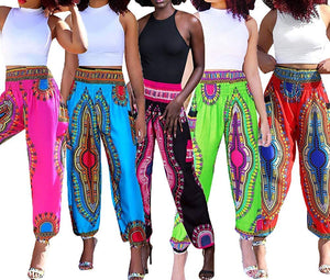 Women's Afrikan Dashiki Floral Casual Loose Baggy Pants (Best for the Summer)