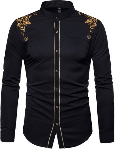Image of Mens Casual Slim Fit Long Sleeve Button Down Dress Shirts - AVM