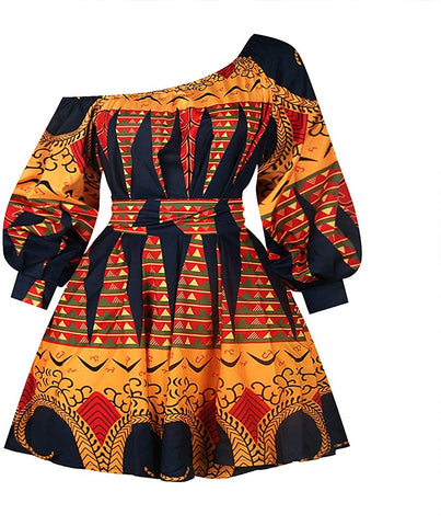 Women's One Shoulder Oblique Neck Short Dresses Afrikan Floral Print Dress - AVM