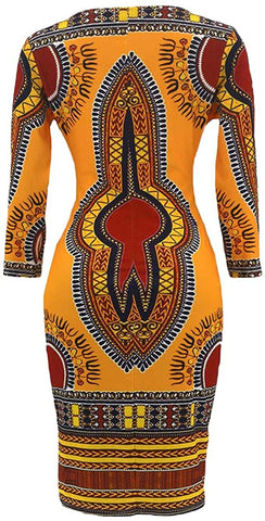 Women V Neck Afrikan Printed Ethnic Style Summer Dress - AVM