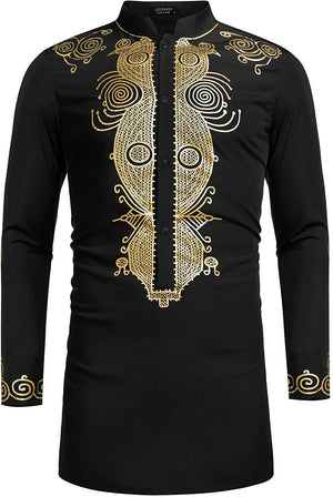 Men's Afrikan Dashiki Luxury Metallic Floral Long Shirt - AVM