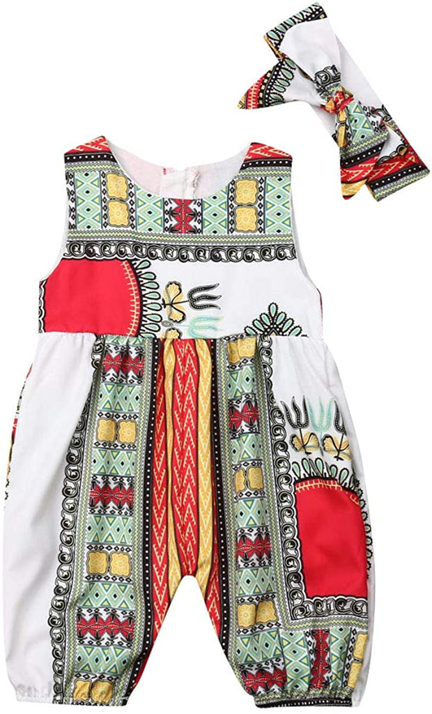 Baby Girls Afrikan Dashiki Print One-Piece Rompers Jumpsuit Headband Toddler Outfit - AVM