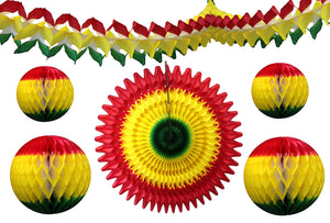 6-Piece Red Yellow Green Rasta Party Decorations