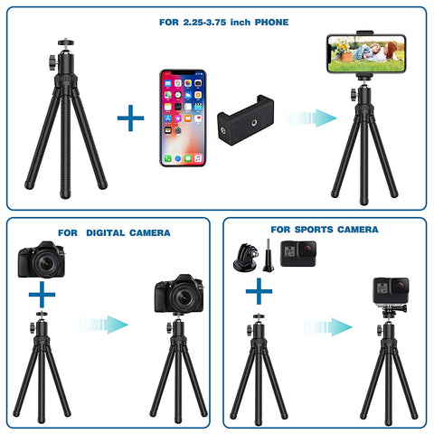 Flexible 360° Rotating Mini Tripod Stand With Wireless Remote and Universal Clip - AVM
