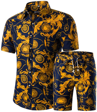 Men's Floral 2 Piece Tracksuit Short Sleeve Top and Shorts - AVM