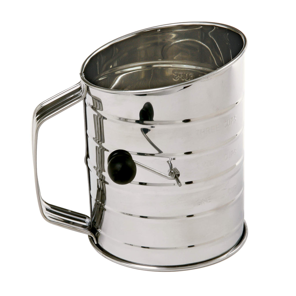 3-Cup Stainless Steel Rotary Hand Crank Flour Sifter With 2 Wire Agitator - AVM