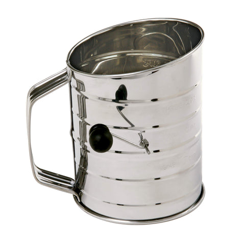 Image of 3-Cup Stainless Steel Rotary Hand Crank Flour Sifter With 2 Wire Agitator - AVM