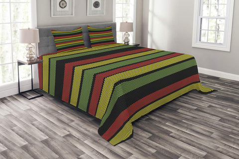 Jamaican Bedspread, Knitted Effect Rastafarian Stripes Abstract Caribbean Culture Elements Tropical, Queen Size - AVM